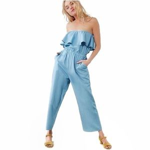 Lucca Couture strapless chambray jumpsuit XS